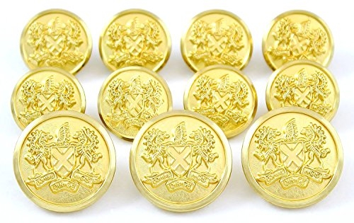 Premium WATERBURY ~GOLD DRAGONS CREST~ METAL BLAZER BUTTON SET ~ 11-Piece Set of Shank Style Fashion Buttons For Single Breasted Blazers, Sport Coats, Jackets & Uniforms ~ METALBLAZERBUTTONS.COM made in New England