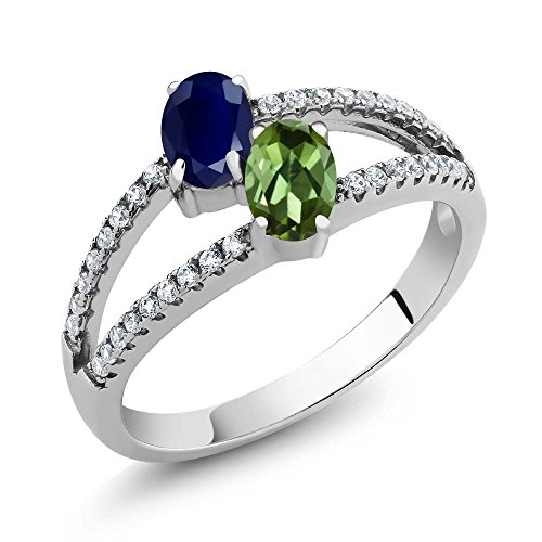 1.46 Ct Oval Blue Sapphire Green Tourmaline Two Stone 925 Sterling Silver Ring
