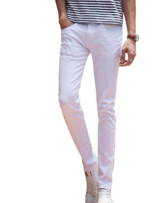 Jeans Hombre Adolescente Delgado Pantalones rectos Elasticidad Delgado Ocio Pantalones: Amazon.es: Ropa y accesorios
