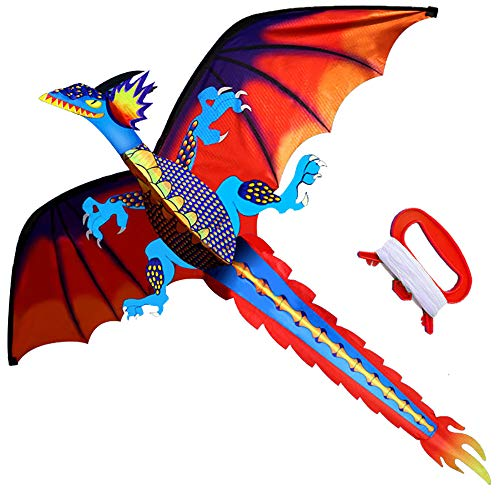 HENGDA KITE-Upgrade Classical Dragon Kite-Easy to Fly-55inch x 62inch Single Line with Tail (Best Kites For Adults)