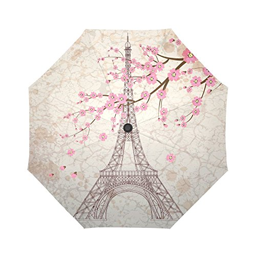 InterestPrint Vintage Paris Eiffel Tower Windproof Compact One Hand Auto Open and Close Folding Umbrella, Antique Paris-City Pink Flowers Rain & Outdoor Unbreakable Travel Umbrella -