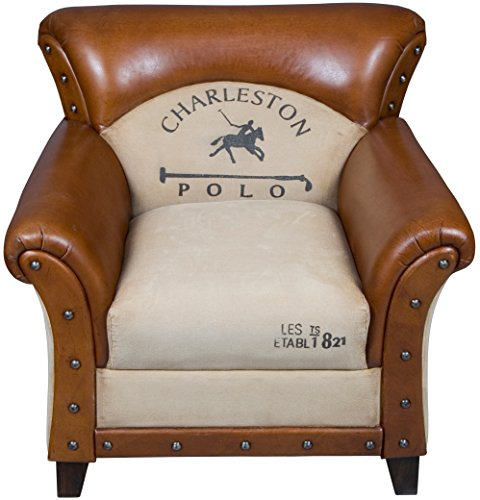 Charleston Polo Horse Rustic Leather Armchair