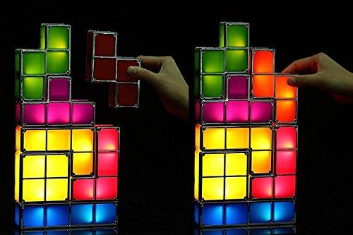 Tetris Desk Lamp, LingsFire Tetris Light DIY Constructible Night Light  Decorative Stackable LED Desk Lamp