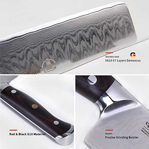7'Japanese Damascus Usuba - Nakiri Knife with 67 Layers Damascus Steel Kitchen Knife,Vegetable Chopper Cutter Knife, Meat Cleaver, Full Tang Blade G10 Handle for Professional Chef WALLOP Dragon Bone by WALLOP (Image #2)
