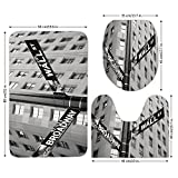 3 Piece Bathroom Mat Set,NYC Decor,Street Signs of intersection of Wall Street and Broadway Finance Art Destinations Photo,Black and White,Bath Mat,Bathroom Carpet Rug,Non-Slip