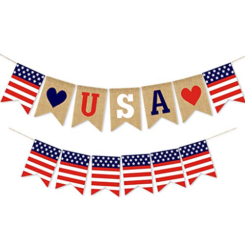 Puyujin Independence Day Products - Independence day hanging decoration America Independence Day Burlap Flag Banner Holiday Party Decoration Festival Layout Outdoor Interior Ceiling Decoration (C)