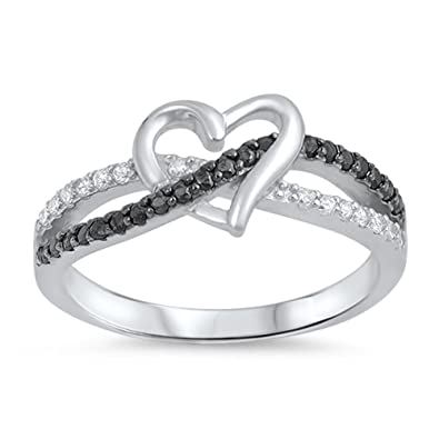 3f5d60fa69bd2 CHOOSE YOUR COLOR Sterling Silver Infinity Knot Heart Promise Ring