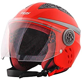 Steelbird Fairy Specially Designed ISI Certified Helmet Fitted Clear Visor and for Girls/Womens (Dashing Red with Clear…