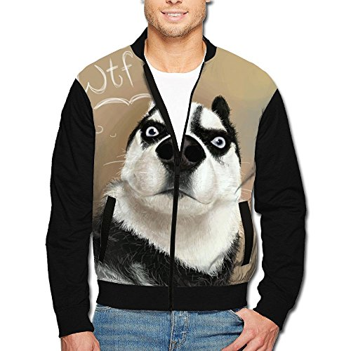 PINPINTA Mens Collar Zipper Jacket Coat All Over Printing Husky WTF What The Fuck Varsity For Mens S-2XL Wtf Christmas Ornaments