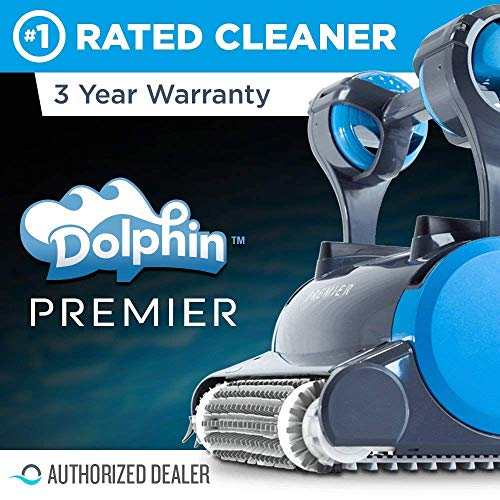 Dolphin Premier Robotic Pool Cleaner with Powerful Dual Scrubbing Brushes and Multiple Filter Options
