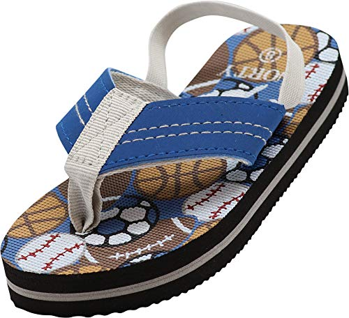 NORTY - Toddler Boys Sport Balls Print Sling Back Flip Flop Sandal, Blue, Multi 41055-10MUSToddler