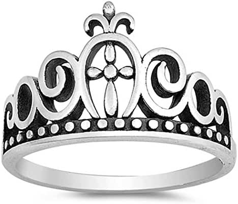 Sterling Silver Cross Crown Tiara Ring (Size 4 - 10)
