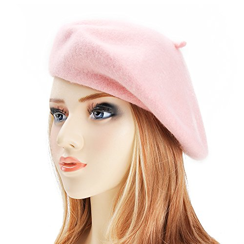 Pink Womens Beret - ZLYC Wool Beret Hat Classic Solid Color French Beret for Women (Pink)