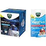 Combo of Vicks Starry Night Cool Moisture Humidifier and Vicks Vapo Pad Family Pack, 12 Count