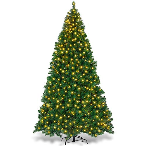 Goplus Artificial Christmas Tree Premium Spruce Hinged Tree with LED Lights and Solid Metal Stand, UL-Certified Transformer (9ft, 2028 Branch Tips, 700 Lights) (Ft Tree Christmas Lit 9 Pre Clearance)