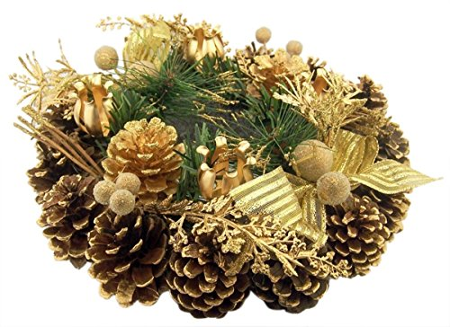 (Religious Gifts Gold Glitter Pine Cone with Ribbon Advent Candle Holder Wreath Seasonal Decoration)
