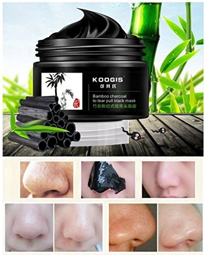 Review KOOGIS Bamboo Charcoal Tearing Blackhead Removal Mask Deep Clesing Acne Facial Nose by Abcstore99