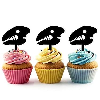 Amazon ta0276 dinosaur skull fossil silhouette party wedding ta0276 dinosaur skull fossil silhouette party wedding birthday acrylic cupcake toppers decor 10 pcs junglespirit Images