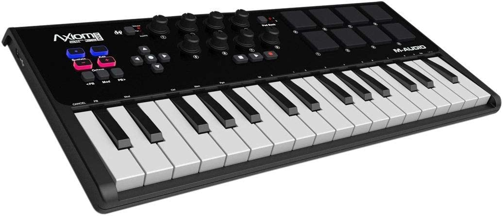 M-Audio Axiom AIR Mini 32 | Ultra-Portable 32 Key USB MIDI Keyboard Controller With 8 Trigger Pads & A Full-Consignment of Production/Performance Ready Controls