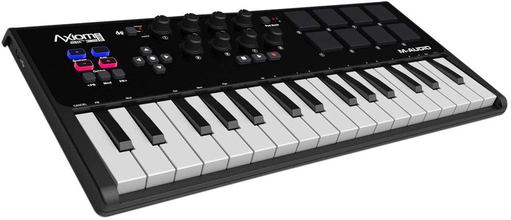 M-Audio Axiom AIR Mini 32 | Premium 32-Key USB MIDI Keyboard & Drum Pad Controller (8 Pads/8 Knobs), VIP Software Download Included by M-Audio
