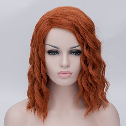 the Avengers Black Widow Cosplay Wig Orange Brown Short Wavy Synthetic Hair (Black Widow Cosplay Costume)