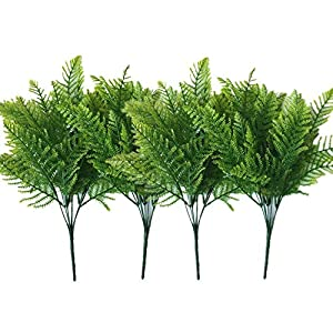 LoveniMen Artificial Shrubs, Plastic Plants Fern Leaves Persian Grass Simulation Fake Bushes Outdoor Indoor Home Garden Verandah Kitchen Parterre Table Centerpieces Arrangements Decoration Green 4pcs 78