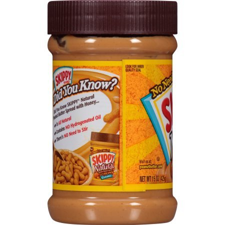 Skippy Peanut Butter, Creamy and Natural with Honey, 15 Ounce Jar