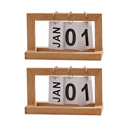 Healifty - Calendario de mesa de madera vintage, perpetuo, bloques ...