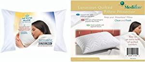 Mediflow First & Original Water Pillow, White & Quilted Pillow Protector: Get Zippered Protection from dust and allergens and add a Layer of Luxury and Comfort to Any Pillow