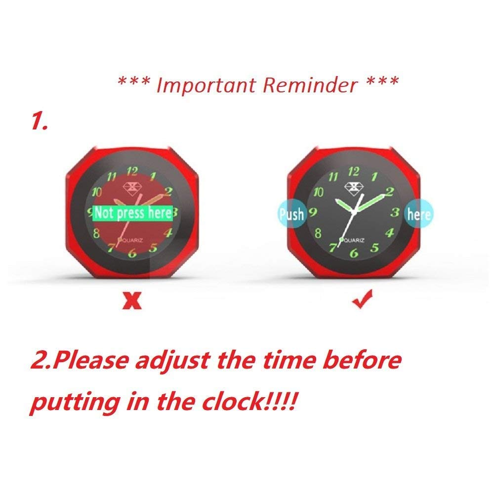 Ocamo Motorcycle Luminous Alloy Clock Time Gauge Cool Styling Waterproof Clock Decoration red