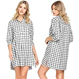 Ekouaer Womens Classic Plaid Nightgown Soft Boyfriend Nightshirt Button Down Sleepshirt, Black White 8979, Small