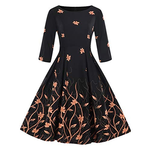 Price comparison product image Rakkiss Fashion Womens Plus Size 3/4 Sleeve Vintage Dress Floral Print Retro Swing Dress Orange