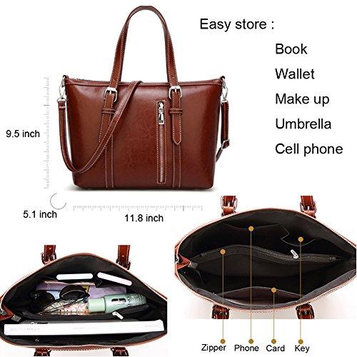 Women's Purses and Handbags Stylish Ladies Designer Satchel Top-handle Tote Shoulder Bags,QUEENTOO(A-Brown) by QUEENTOO (Image #3)