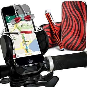 Nokia Lumia 928 Protección Premium de Zebra PU tracción Piel Tab Slip In Pouch Pocket Cordón piel cubierta de la caja de liberación rápida, de calidad premium en auriculares de botón Stereo Headset Manos Libres Auriculares con micrófono Mic y botón de encendido y apagado, Grande Sylus pluma y universal de bicicletas Bike Mount Holder Soporte horquilla del soporte del manillar de soporte 360 ??grados de rotación Rojo y Negro por Spyrox