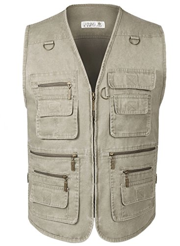 Eidlvais Men's Multi-Pockets Vest For Outdoors Travels Sports Khaki Size XL by Eidlvais