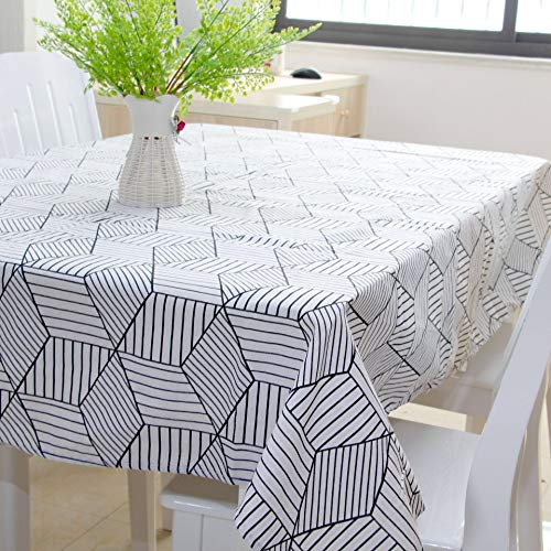 (SESTYLE Black White Cotton Linen Tablecloth for Rectangular Tables Party Supplies Spillproof Dinning Tables Covers Indoor Outdoor White 55