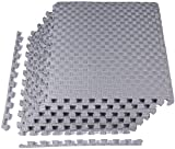 """BalanceFrom 1"""" Extra Thick Puzzle Exercise Mat with EVA Foam Interlocking Tiles for MMA, Exercise, Gymnastics and Home Gym Protective Flooring (Gray)"""