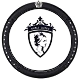 Queen's Car Steering Wheel Cover with Noble Crown + Bling Diamond Auto Stylish Elegant Collection Accessories Universal 15''/38cm (Queen ONLY) (C - Noble Queen Rivet)