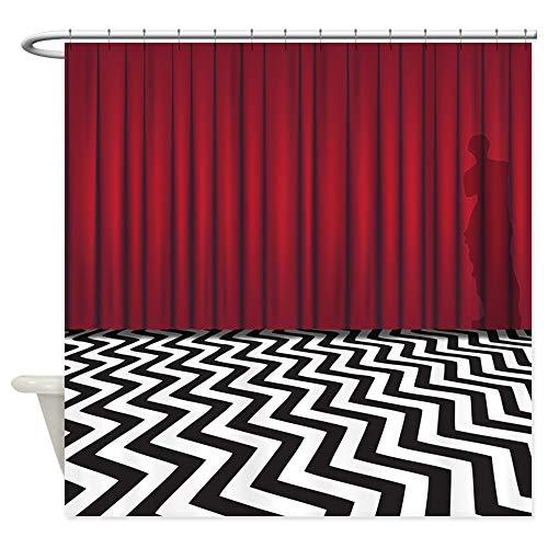 CafePress Black Lodge Red Room Decorative Fabric Shower Curtain (69