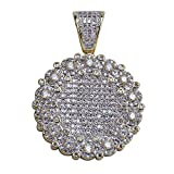 SHINY.U Hip Hop 14K Gold Plated Iced Out CZ Solitaire Simulated Lab Diamond Round Medallion PendantNecklace Men (Gold)