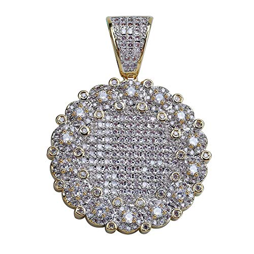 SHINY.U Hip Hop 14K Gold Plated Iced Out CZ Solitaire Simulated Lab Diamond Round Medallion Pendant Necklace for Men -
