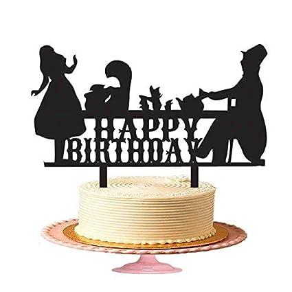 Hiusan Happy Birthday Tea Party Cake Topper Acrylic BlackBirthday Toppers