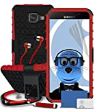 Samsung Galaxy A5 (2016) SM-A510F Red Shock Proof Rugged Hard Case with Viewing Stand - LCD Screen Protector - Retractable Mini Stylus Pen - 3.5mm ZIPPER Stereo Hands Free HeadPhones with Mic