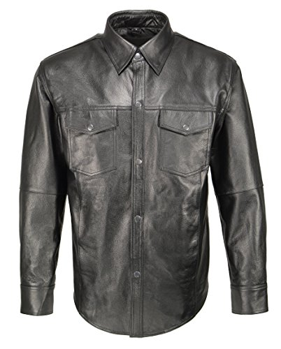 Men's Classic Snap Front Leather Shirt -Black-MD