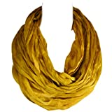 Wrapables Lightweight Silky Soft Infinity Loop Scarf, Gold Yellow