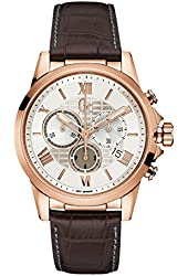 Guess Collection Men's Esquire Brown Leather Band Steel Case Quartz Silver-Tone Dial Analog Watch Y08006G1