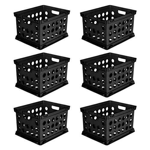 Sterilite 16939006 File Crate, Black, 6-Pack -