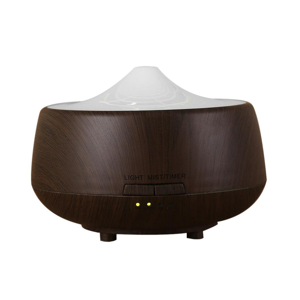 Fineser 250ml Aroma Essential Oil Diffuser, Wood Grain Ultrasonic Cool Mist Humidifier with 7 Color LED Soft Lights , for Office Home Bedroom Living Room Yoga Spa (Brown)