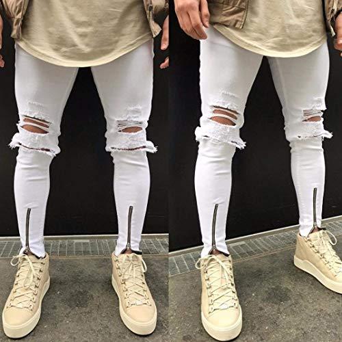 Pantaloni Denim Comodo Strappati Fit Vintage Moto Battercake Jeans Da Bianca Slim Hiphop Stretch Streetwear awqHdP8