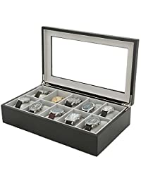 Tech Swiss 10 Watch Box for XL Watches Black Wood Finish